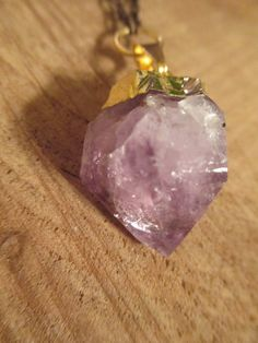 Amethyst Crystal Point Necklace with Long Wood Beads on Etsy, $22.50