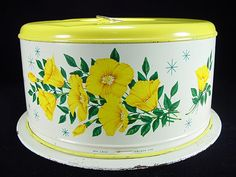 Vintage Yellow Floral Cake Carrier