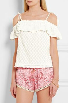 Paloma Blue | Santorini off-the-shoulder embroidered woven top | NET-A-PORTER.COM