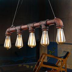 Retro Iron Water Pipe Loft Pendant Lamp 5 Heads E27 Ceiling Chandelier Light Bar #Unbranded #Modern