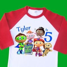 6e8741a3789 Super Why Birthday Shirt. Personalized Raglan with Name   Age. 1st 2nd 3rd  4th 6th 7th 8th 9th Birthday Tee