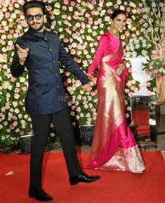 DeepVeer at kapil sharma's reception Engagement Dress For Groom, Couple Wedding Dress, Groom Wedding Dress, Wedding Suits, Bollywood Couples, Bollywood Celebrities, Bollywood Fashion, Deepika Ranveer, Deepika Padukone
