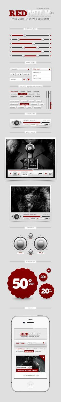 REDMILK FREE UI Elements (PSD) by Emile Rohlandt, via Behance