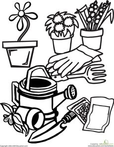kids gardening tools coloring pages - photo#15