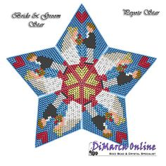 TUTORIAL BRIDE & GROOM 3D PEYOTE STAR + Basic Instructions Little 3D Peyote Star This beading pattern provides a colour diagram and text to create the Bride & Groom 3D Peyote Star. Included are also the step by step instructions with clear 3D images of how to create a 3D Star in