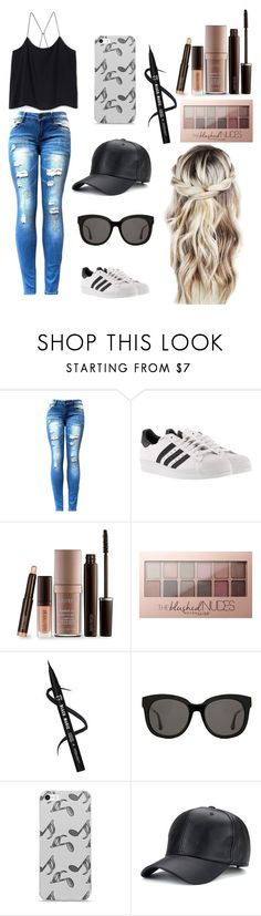 """""""casual teen"""" by ridingbreeze ❤ liked on Polyvore featuring adidas, Laura Mercier, Maybelline, Gentle Monster and Music Notes"""