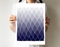 Geometric print 11x14 or 30x40  Blue mountains  von villavera, $29.00