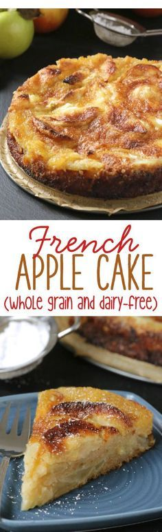 This simple French apple cake is like a crustless pie with a crunchy topping. Can be made 100% whole grain and dairy-free.