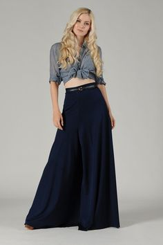 Navy Mega Long High Waisted Palazzo Pants