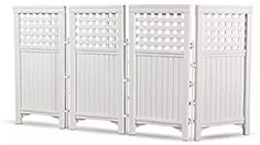 Suncast 4 Panel Outdoor Screen Enclosure - Freestanding Steel Resin Reversible Panel Outdoor Screen - Perfect for Concealing Garbage Cans, Air Conditioners - White Fence Headboard, Wicker Headboard, Wicker Couch, Wicker Mirror, Wicker Shelf, Wicker Dresser, Wicker Planter, Wicker Tray, Wicker Baskets