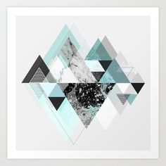 Buy Graphic 110 (Turquoise Version) Art Print by Mareike Böhmer Graphics. Worldwide shipping available at Society6.com. Just one of millions of high quality products available.