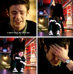 The Flash - Barry & Joe #1x17 #Season1 -Barry just being adorable all curled up in a ball and crying his eyes out. He wasn't the only one... Heartbreaking!