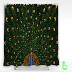 Cheap Bird peacocks feathers colors Shower Curtain