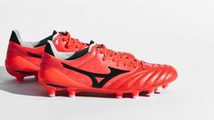 """Mizuno bring the heat to the winter pitches in the form of a """"Fiery Coral"""" update on their top-spec Morelia Neo II 'Made in Japan' edition. The luxurious treatment is wrapped in warmth as Mizuno drop their final Morelia Neo II collection of Soccer Boots, Football Boots, Soccer Cleats, Bring The Heat, Air Max, Athlete, Coral, Product Launch, Pairs"""
