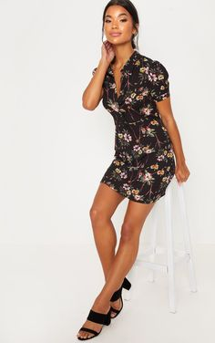 da7ddad017d The Black Floral Print Button Detail Tea. Head online and shop this  season s range of. prettylittlething.com
