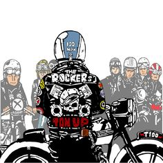 Mercenary Garage: Ton Up Logos Vintage, Pub Vintage, Vintage Posters, Motorcycle Posters, Motorcycle Art, Motorcycle Wheels, Bike Illustration, Character Illustration, Bobber Custom