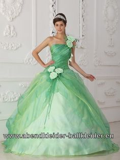 Mint Grünes Sissi Kleid Abend - Ballkleid Mit Tüll und Blumen