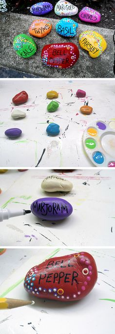 Painted Rock Garden Markers | Click Pic for 22 Easy to Make Mothers Day Gifts from Adults | DIY Birthday Gifts for Friends