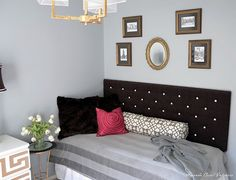 use a twin bed with upholstered head board as a sofa/daybed in an office/craft room for more space for guests to sleep.