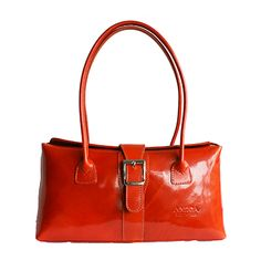 Buckle Lock Orange Leather Shoulder Bag - Down to £49.99 from £59.99