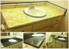 DIY Granite Counter top - Lolly Jane   Seriously considering trying this in my kitchen.