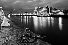 The Dublin Docklands At Night / Dublin Print by Barry O Carroll