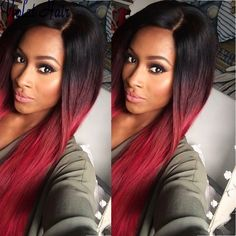 black and red ombre weave - Google Search
