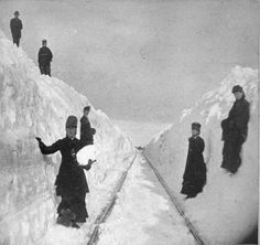 Victorian Blizzards, Nonstop in the 1880s – Kristin Holt   Crews clear snow along the Winona & St. Peter Railroad near Winona, Minnesota in 1881.