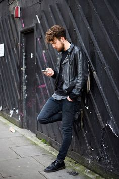 dr Martens jeans leather jacket beard Style men tumblr