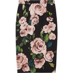 Dolce & Gabbana Rose-print crepe pencil skirt ($613) ❤ liked on Polyvore featuring skirts, bottoms, юбки, saias, crepe skirt, knee length pencil skirt, dolce gabbana skirt, pencil skirt and zipper skirt