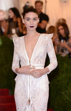Rooney Mara at the 2013 Met Gala Mara wore this particular lip when the theme was punk. It was the perfect shape, crispness, color, and finish that paid homage to the looks of '70s and '80s punk. I loved it so much that I now wear this color like all the time.