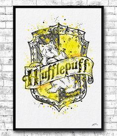 Hufflepuff Crest 2 Watercolor Print Harry Potter Fine by ArtsPrint