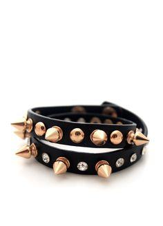 Black Studded Leather Bracelet by Femaly @Markafoni