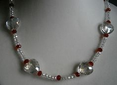 """19"""" RED & CLEAR HEART CRYSTAL BEADED NECKLACE  £10.00 WITH FREE U.K DELIVERY    See this Creation and more at  http://folksy.com/shops/dandddesigns2011"""