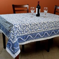 Floral Tablecloth, Round Tablecloth, Dining Decor, Kitchen Dining, Dining Room, Blue Throws, Square Tables, Shades Of White, Room Accessories