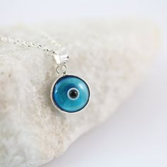 Delicate Necklace Small Evil Eye Necklace . Sterling by MonyArt, $20.80