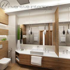 Projekt łazienki Inventive Interiors - beżowe płytki o strukturze fali w połączeniu z płytkami drewnopodobnymi