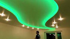 Картинки по запросу дизайн потолков из гипсокартона и натяжных со светодиодными лентами
