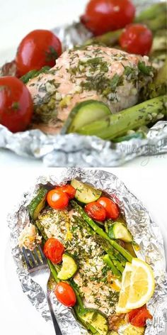Salmon In Foil Recipes, Grilled Salmon Recipes, Healthy Salmon Recipes, Seafood Recipes, Low Carb Recipes, Dinner Recipes, Baked Salmon And Asparagus, Oven Baked Salmon, Cucina
