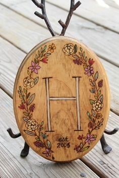 Vintage Floral Wreath Woodburned plaque with by LazyLightningArt, $32.00