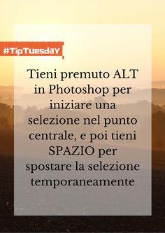 Tieni premuto ALT in Photoshop per iniziare una selezione nel punto centrale, e poi tieni SPAZIO per spostare la selezione temporaneamente.