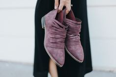 Plum colored faux suede booties with skinny straps across the top  Running true to size