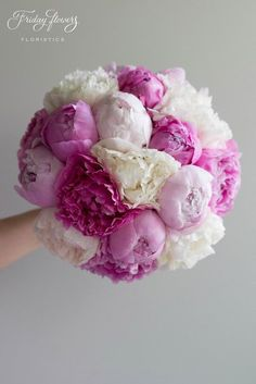 "Peony wedding bouquet ""very berry"" with three kinds of peonies - white, pink and fuchsia. Very classy and elegant. Роскошный букет невесты из пионов."