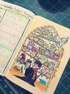 Waited all month to show you guys my completed Harry Potter themed Mood Tracker! : bulletjournal