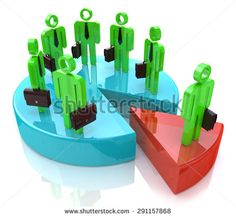 Many people standing on pie chart conceptual 3d illustration  - stock photo