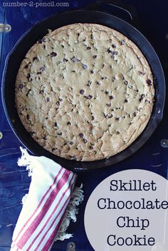 Skillet Chocolate Chip Cookie    I love to make this with my grandsons...even though they are getting older!  We have ice cream on it and eat it while still warm.  We do the all for one and one for all with our spoons raised and tapping and all eat right from the pan!