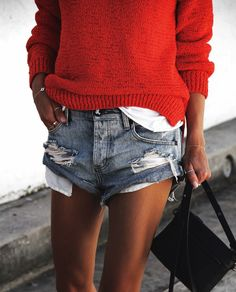 Red + denim.
