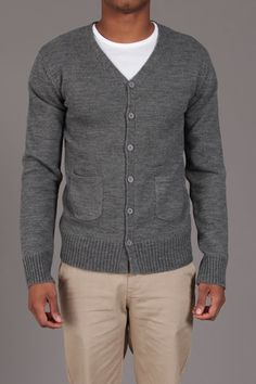 Grey Cardigan--I would love Alex to wear this, but there is no way.  Although I did get him to try (and buy and wear) a quarter zip cable sweater.