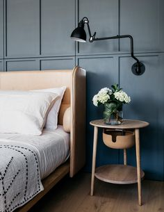 Jonathan Richards' Darlinghurst Residence | Yellowtrace Side table by Studio Ilse, Aran bed by Adam Goodrum and Gras wall light from Spence & Lyda Source: https://www.yellowtrace.com.au/jonathan-richards-sjb-sydney-darlinghurst-residence/