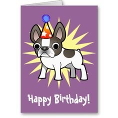 Birthday French Bulldog Blue Pied Card